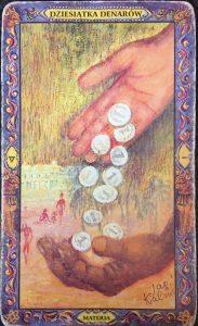 dziesięć tarotowych monet koronowych